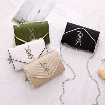 Women All-match Fashion Rhombus Y Letter Metal Chain Single Shoulder Messenger Bag Small Square Bag