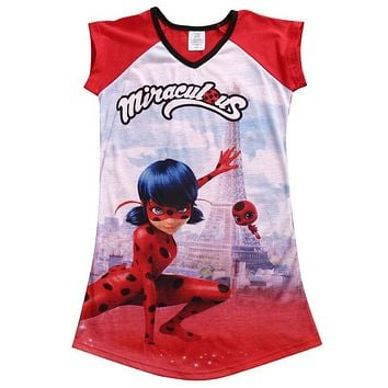 Baby Girl Cute Dress Miraculous Ladybug Girls Short Sleeve Dress Cartoon Summer Clothes 5-16Years Big Girls Gifts