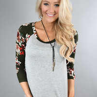 3/4 Sleeve Olive Floral Top