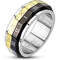 Spikes Stainless Steel Black & Gold IP Roman Numeral Dual Spinner Ring