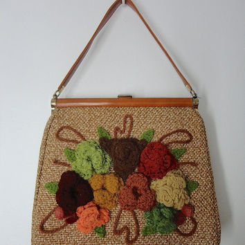 1960s 1970s Handbag Kelly Bag / Brown Tweed / Crocheted Knitted Floral Granny Purse / Mad Men Style Mid-Century