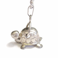 Turtle Pendant Necklace Vintage Sterling 3D