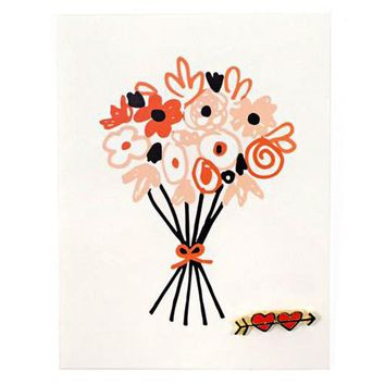 Flower Bouquet Card + Pin