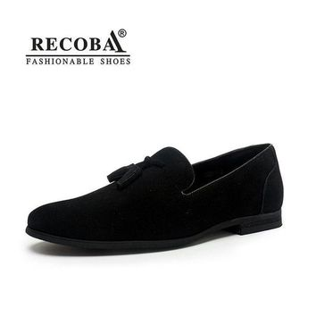 DCK7YE Brand Men casual loafers plus size 11 black velvet suede leather tassel penny loafers
