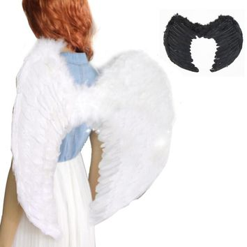 Adults Kids White/Black Feather Fairy Angel Wings Party Fancy Dress Costume