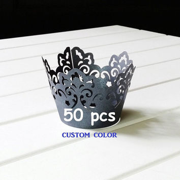 King Queen Crown Black Jack Cupcake Wrappers laser cut treehouse holder tree silhouette collars lace liner