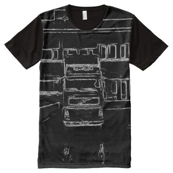 trailer and building drawing All-Over print t-shirt
