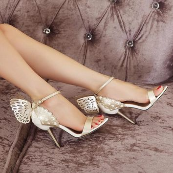 Bronzing Butterfly Wings Buckle Strap High Heels
