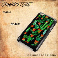 Cactus Black Pattern For Ipod 4 Case - Gift Present Multiple Choice