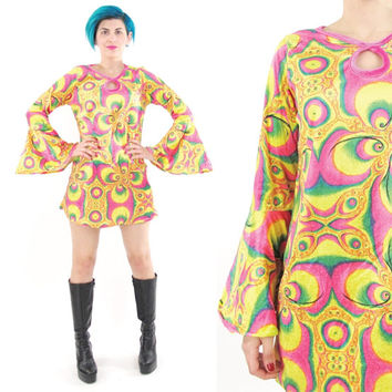 90s Psychedelic Velvet Mini Dress 60s Style Hippie Bell Sleeve Dress Bright Colorful Psychedelic Print Dress Festival Rainbow Dress (S/M)