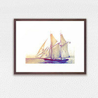 Framed Art Print, ship colored pencil drawing, sailing on ocean, GICLEE PRINT in frame, yellow blue home decor, sailing ship art print