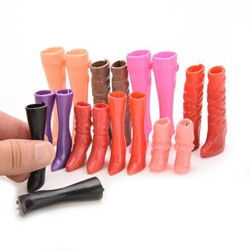 8 Pairs High Heels Boots Shoes for Barbie Doll Designs Vary Multicolor Doll Accessories Parts