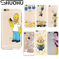 TPU Silicone Soft Cartoon Cover Simpsons Clear Coque Minions Cherry Snow Transparent Phone Case For iPhone 5 5S SE 6 6S 7 Plus
