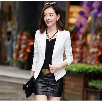 VR829 Slim Design Elagant OL Office Work Long Sleeve Business Suit Plus Size Outwear Women Small Blazer White Black Pink Blue