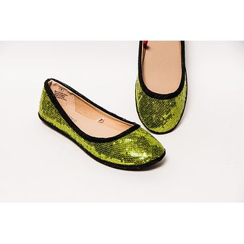Lime Green w/Black Accent Ballet Flats
