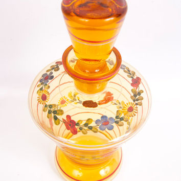 Czechoslovakia Amber Glass Decanter Enameled Flowers Hand Painted Carafe Blown Glass Stopper Bohemian Pitcher