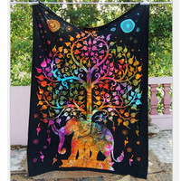 Indian Mandala Tapestry Throw Hippie Tapestry Hanging Printed Decorative Wall Tapestries Bright Color Bedding/Living Room T0.4