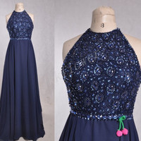 Long Navy Blue Crystal Beaded Prom Dresses,Backless Evening Dresses,A Line Chiffon Party Dresses,Bridesmaid Dresses,Homecoming Dresses
