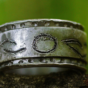 Custom Silver Commitment Ring Unisex, Thick Double Silver Ring Band, Engraved Symbols, Love Unity Ring