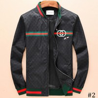 GUCCI 2018 autumn and winter new double G tide brand bee embroidery baseball collar jacket F-A00FS-GJ #2