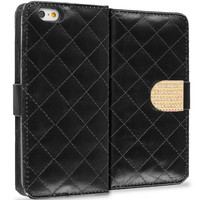 Black Luxury Wallet Diamond Design Case Cover With Slots for Apple iPhone 6 6S (4.7)