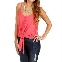 Pink Sleeveless Tie Front Top