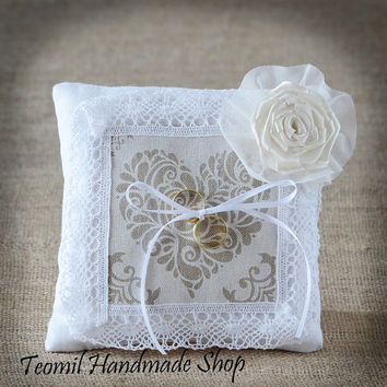 Ring Pillow, Ring Bearer,  Linen Wedding Ring Pillow,