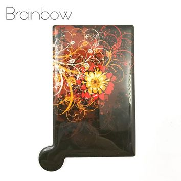 Brainbow 1pc Unbreakable Card Makeup Mirror Stainless Steel Shatter-Proof Pocket Mirrors Compact Portable Mirror with PU Case