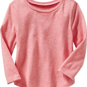 Old Navy Long Sleeve Rounded Hem Tees For Baby
