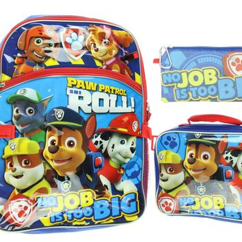 Paw Patrol Backpack Boys or Girls 5 Piece Lunch Box Water Bottle Back to School Set
