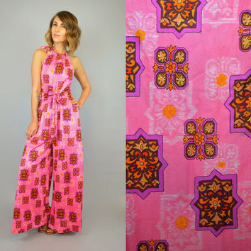 vtg 60s/70s MOSAIC TILE Print hippie boho Disco ethnic wild Palazzo halter JUMPSUIT romper Onesuit, extra small-small