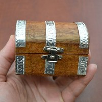 Pirate Treasure Chest Jewelry Wood Box