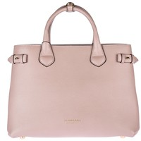 BURBERRY WOMEN'S LEATHER HANDBAG SHOPPING BAG PURSE NEW BANNER PINK F68