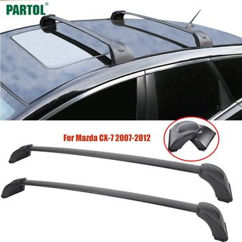 Partol 2Pcs/Set Car Roof Rack Cross Bars Crossbars Kit 60KG 132LBS for Mazda CX-7 2007-2012 Cargo Snowboard Luggage Carrier Top