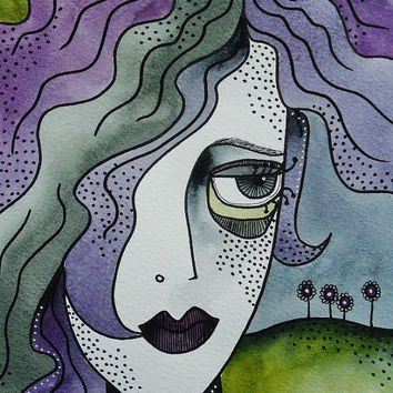 Original Watercolor Painting Face Portrait Girl Woman Blue Purple Green Contemporary Hand Painted Artwork