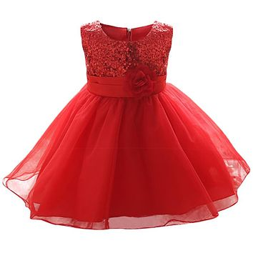 Summer Newborn Formal Dress Red Sleeveless Infant Baptism Ball Gown Dress Clothes For Girl First Birthday Party