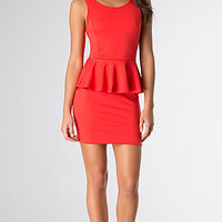 Short Sleeveless Peplum Dress