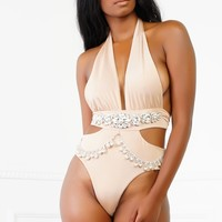 Yazabelle Jewel Swim One Piece - Nude