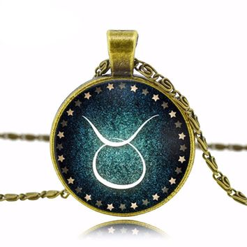 Zodiac pendant necklace glass cabochon antique Bronze necklace art picture statement necklace Constellation fashion for women