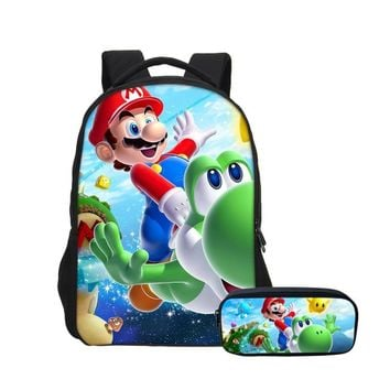 Super Mario party nes switch VEEVANV New 2 Set 16 Inches Printing  Kids School Bags for Teenager Boys Laptop Backpack Cartoon Children Schoolbag AT_80_8