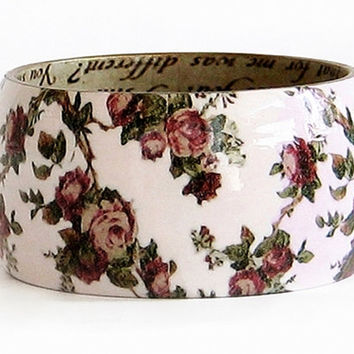 Soft pink wood bangle bracelet decoupage floral bangle shabby romantic chic victorian roses statement bangle unique gift for her idea