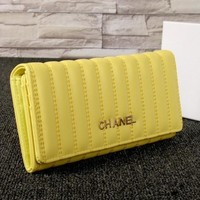 aTHE CHANEL Buckle Women Leather Purse Wallet H-MYJSY-BB yellow