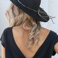 Black Straw Hat with Straw Bow