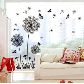 decorative black dandelion wall sticker decals flower plants adhesive wallpaper pegatinas women home bedroom house DIY decor