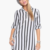 Vertical Stripe Asymmetrical Sleeve With Collar