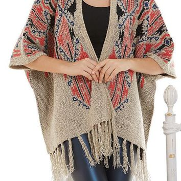 Khaki Tribal Floral Tassel Dolman Sleeve Cardigan Sweater