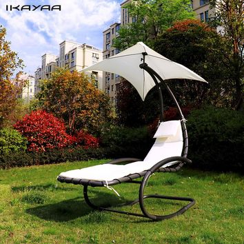 iKayaa Rocking Outdoor Patio Chaise Lounge Chair  Canopy Garden Porch Pool Chaise Rocker Garden Furniture US DE Stock