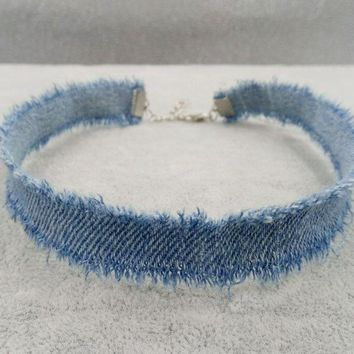 1CM Width Blue Denim Choker for Women Distressed Denim Jeans Choker Chockers Necklace Jewelry Collier