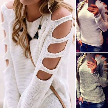 Womens Cut Out Long Sleeve Casual Shirt Knit Sweater Blouse Jumper Top T Shirts