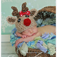 Baby Reindeer hat w BOW tan beanie great photo prop or gift for Christmas - size NB, 1-3mos, 3-6mos, 6-12mos